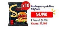 Oferta de Hamburguesas pack clásica SADIA por $4990