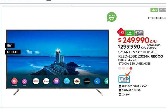 Oferta de Smart tv Recco por $249990