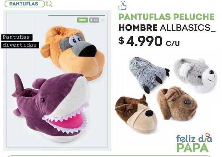 Oferta de Pantuflas peluche hombre allbasics por $4990