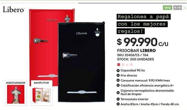 Oferta de Frigobar LIBERO por $99990
