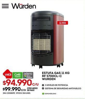 Oferta de Estufa a gas Wurden por $94990