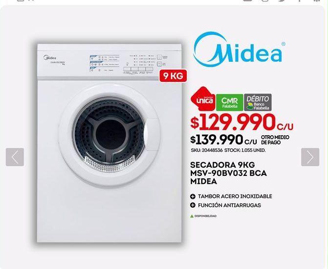 Oferta de Secadoras Midea por $129990