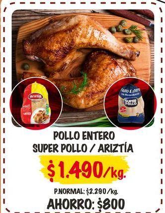 Oferta de Pollo entero súper pollo/ ariztia  por $1490