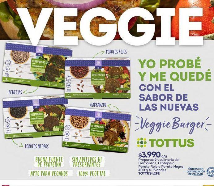 Oferta de Hamburguesas vegetales Tottus por $3990