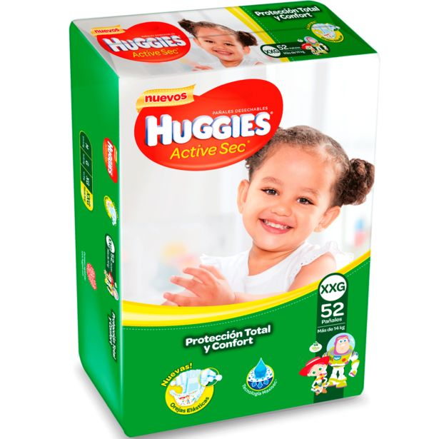 Oferta de Pañales Huggies Active Sec XXG 52 un. por $11990