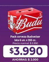 Oferta de Cervezas Budweiser por $3990