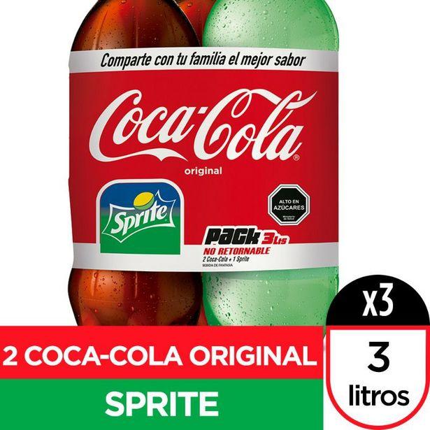 Oferta de Tripack regular 3 Litros, 2 CocaCola + 1 Sprite 3 Un por $4890