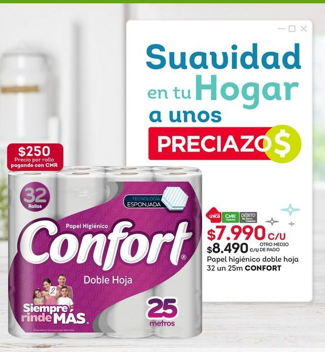 Oferta de Papel higiénico Confort por $7,99