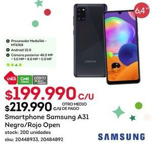 Oferta de Samsung Galaxy A31 por $199,99