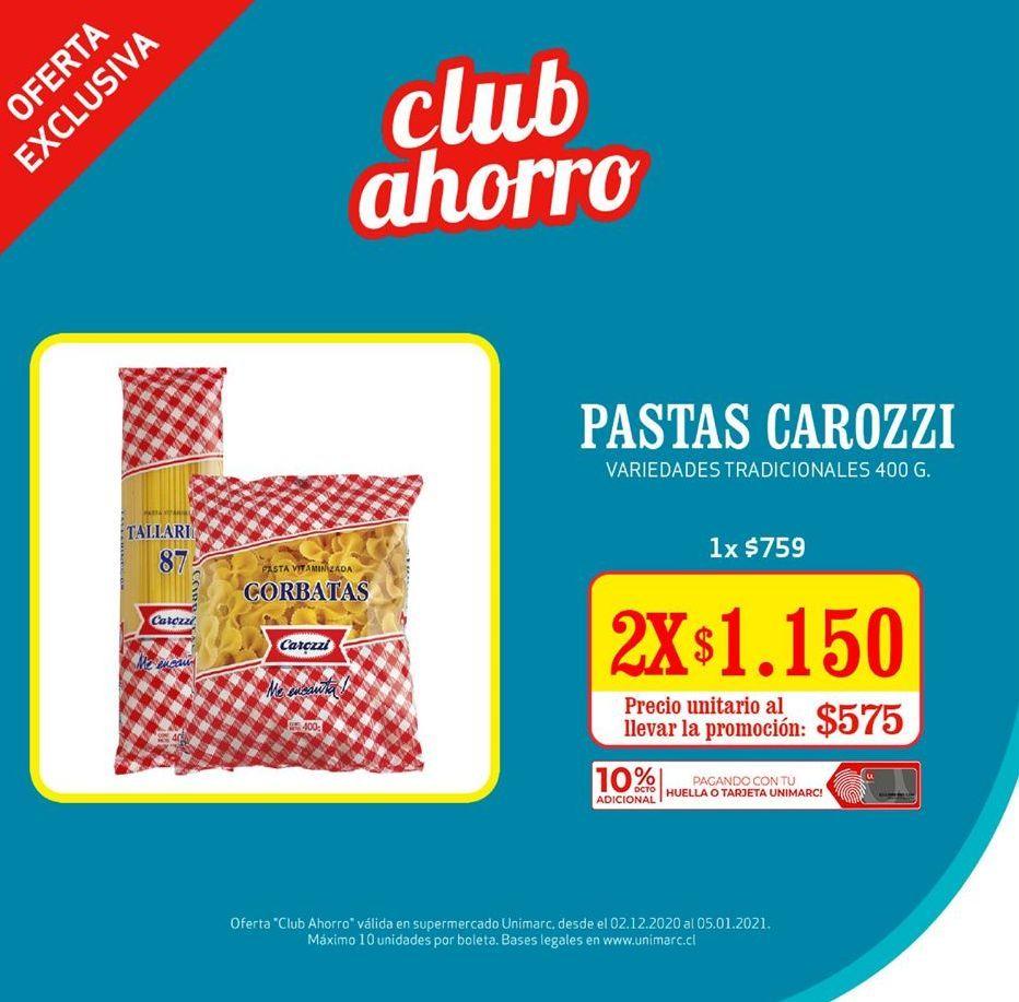 Oferta de Pastas Carozzi por $1,15