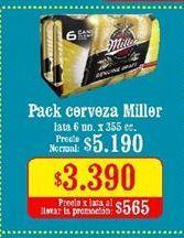 Oferta de Cervezas Miller por $3,39