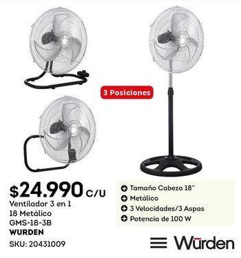 Oferta de Ventilador Wurden por $24,99