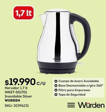 Oferta de Hervidor de agua Wurden por $19990