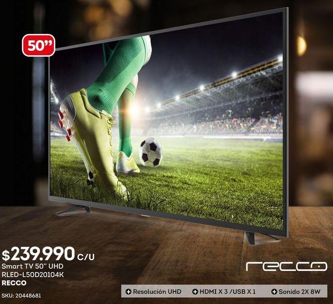 Oferta de Smart tv led 50'' Recco por $239990