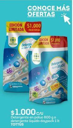Oferta de Detergente en polvo Tottus por $1000
