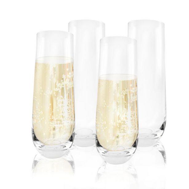 Ofertas de Set Vasos de Champaña de Vidrio 295ml (4u) por $9990
