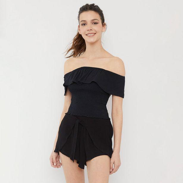 Ofertas de Blusa Panal Vuelos Negro - Mujer por $8990