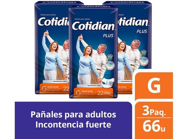 Ofertas de 3 PAQUETES PAÑALES DE ADULTO COTIDIAN PLUS 66 UN TALLA G por $37900