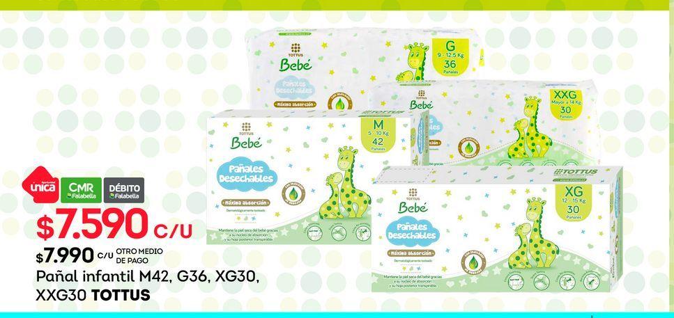 Ofertas de Pañal infantil M42, G36, XG30, XXG30 TOTTUS por $7590