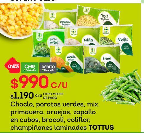 Ofertas de Choclo, porotos verdes, mix primavera, arvejas, zapallo en cubos, brocoli, coliflor, champiñones laminados TOTTUS por $990