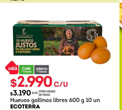 Ofertas de Huevos gallinas libres 600 g 10 un ECOTERRA por $2990