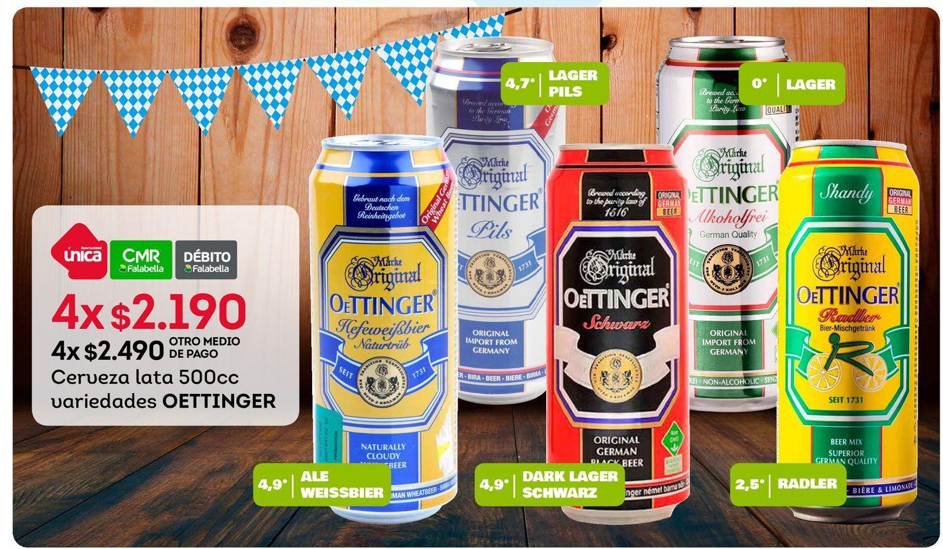 Ofertas de Cerveza lata 500cc variedades OETTINGER x4 por $2190