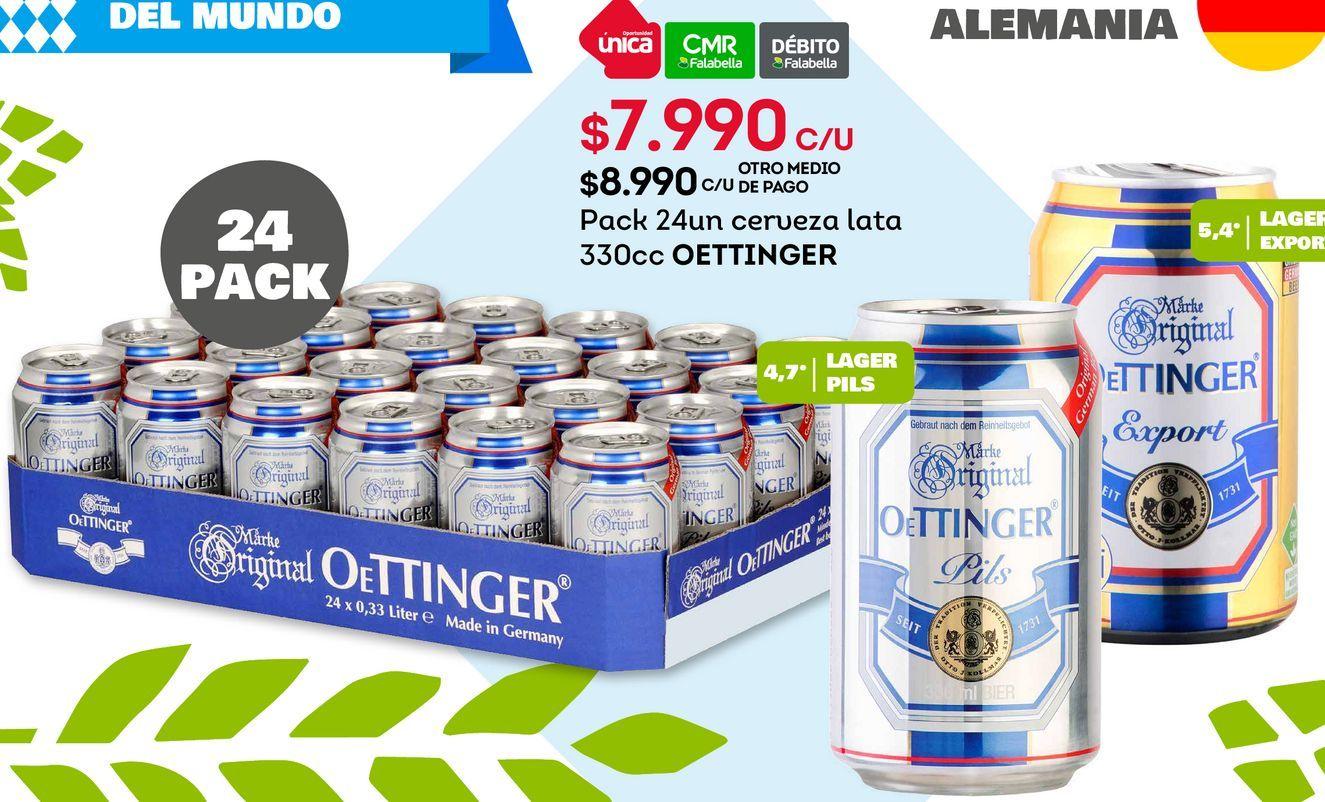 Ofertas de Pack 24un cerveza lata 330cc OETTINGER por $7990