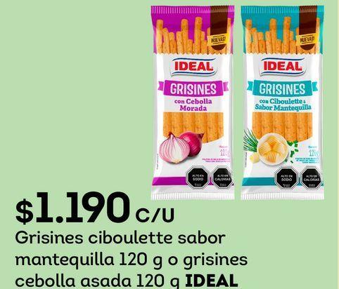 Ofertas de Grisines ciboulette sabor mantequilla 120 g o grisines cebolla asada 120 g IDEAL por $1190