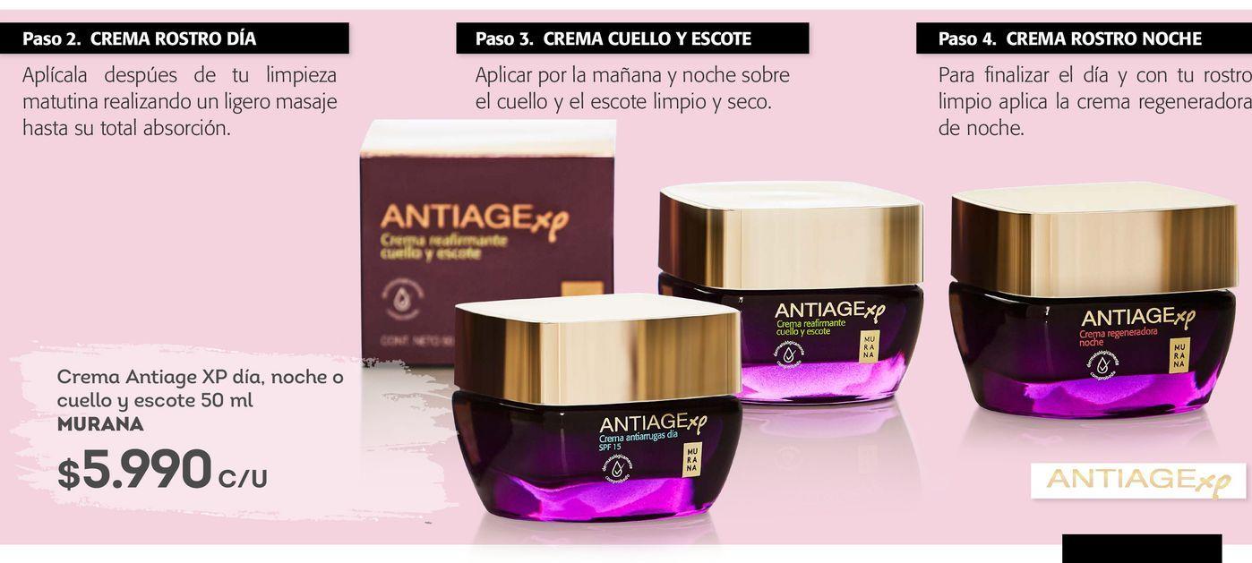 Ofertas de Crema Antiage XP día, noche o cuello y escote 50 ml MURANA por $5990