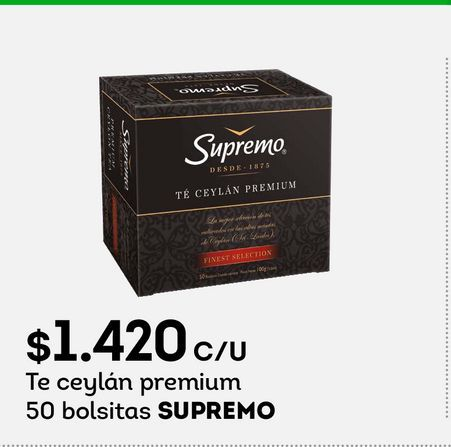Ofertas de Te ceylán premium 50 bolsitas SUPREMO por $1420
