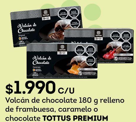 Ofertas de Volcán de chocolate 180 g relleno de frambuesa, caramelo o chocolate TOTTUS PREMIUM por $1990