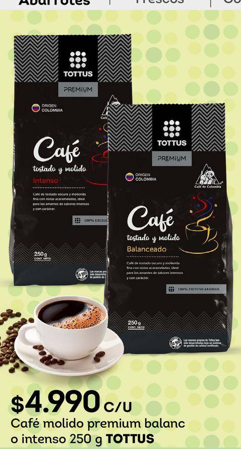 Ofertas de Café molido premium balanc o intenso 250 g TOTTUS por $4990