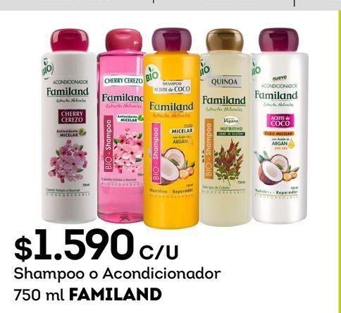 Ofertas de Shampoo o Acondicionador 750 ml FAMILAND por $1590
