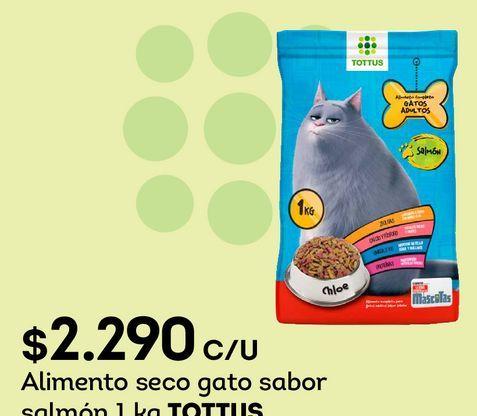 Ofertas de Alimento seco gato sabor salmón 1 kg TOTTUS por $2290