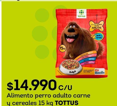 Ofertas de Alimento perro adulto carne y cereales 15 kg TOTTUS por $14990