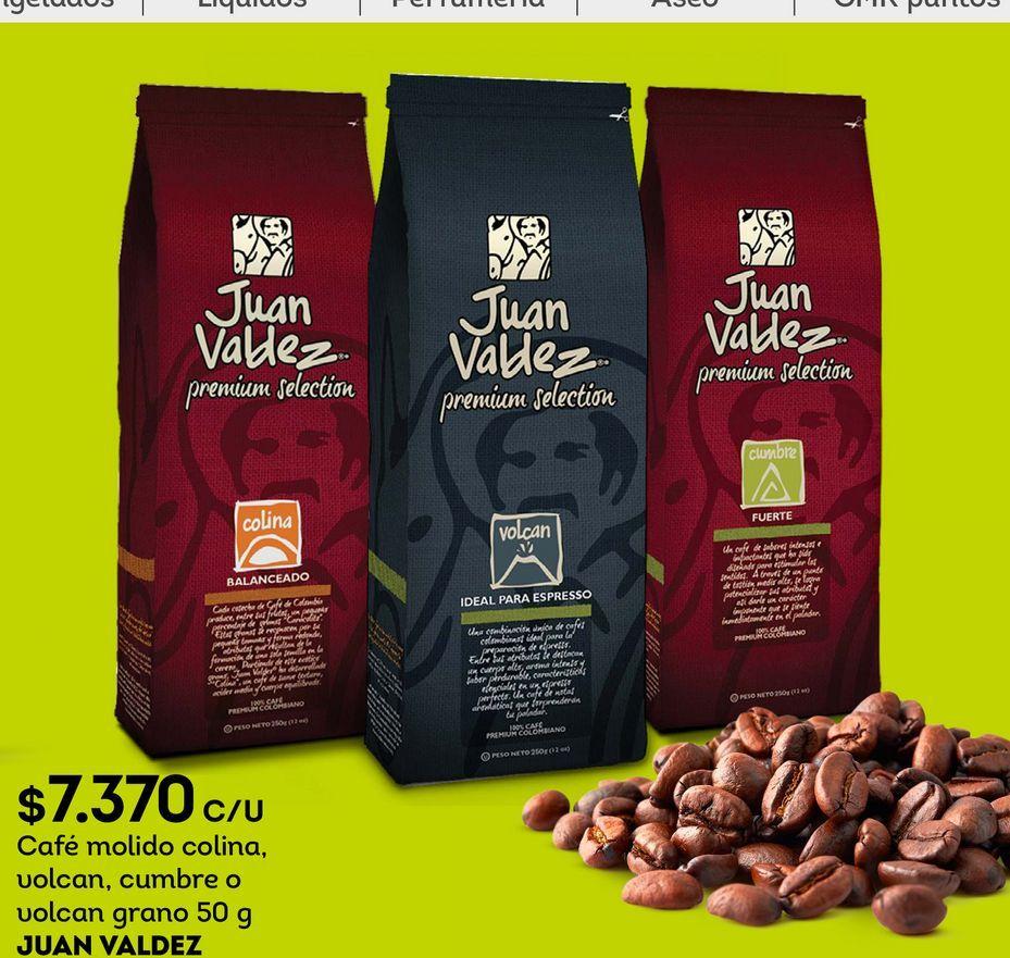 Ofertas de Café molido colina, volcan, cumbre o volcan grano 50 g JUAN VALDEZ por $7370