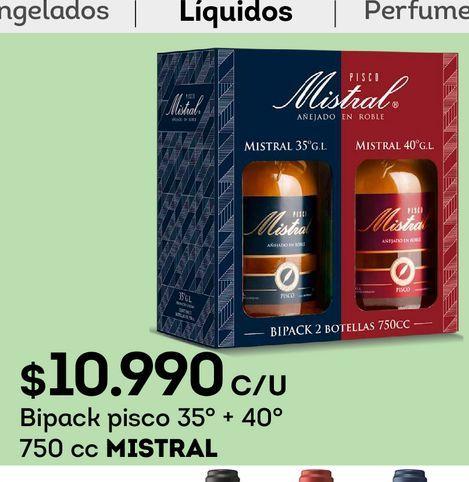 Ofertas de Bipack pisco 35° + 40° 750 cc MISTRAL por $10990