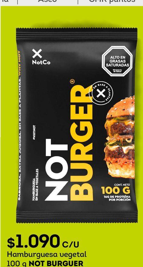 Ofertas de Hamburguesa vegetal 100 g NOT BURGUER por $1090