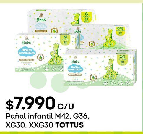 Ofertas de Pañal infantil M42, G36, XG30, XXG30 TOTTUS por $7990