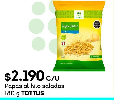 Ofertas de Papas fritas Tottus por $2190