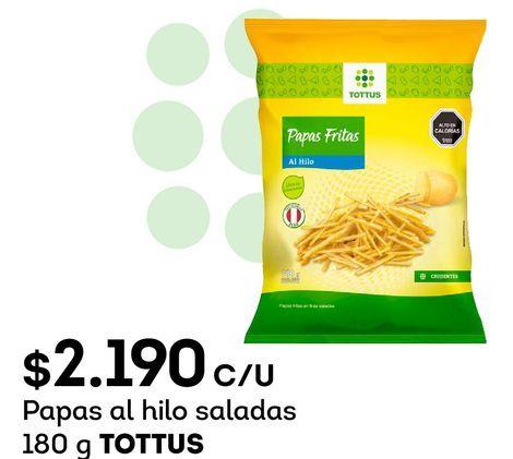 Ofertas de Papas al hilo saladas 180 g TOTTUS por $2190