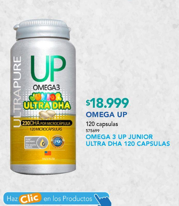 Ofertas de OMEGA 3 UP JUNIOR ULTRA DHA X120CAP por $18999